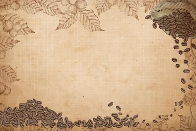 Retro kaffee hintergrund, gravur kaffeebohnen in jutebeutel mit kaffeekirschen und blättern Premium Vektoren