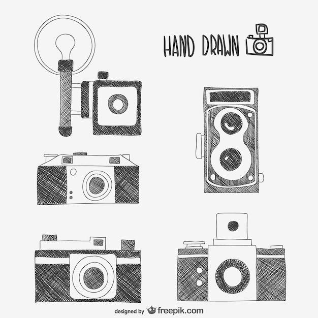 Retro-kameras zeichnungen Kostenlosen Vektoren
