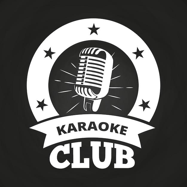 Retro- karaokeclub-aufkleberweiß auf tafeldesign Premium Vektoren