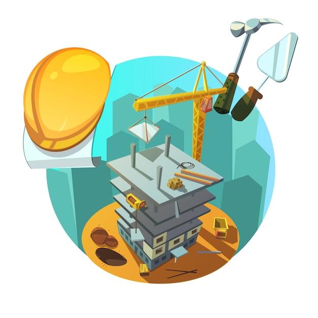 Retro- karikatur des baus Kostenlosen Vektoren