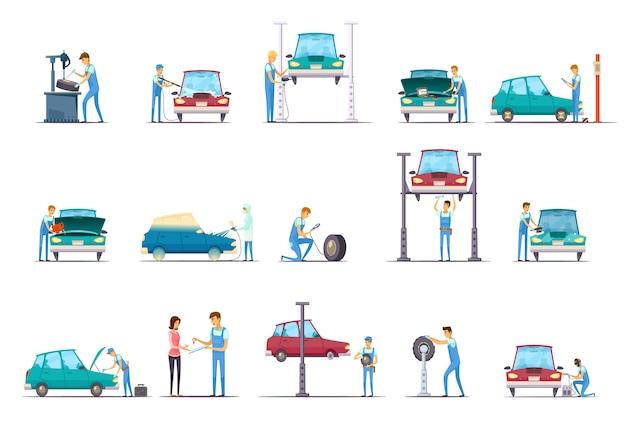 Retro karikatur-ikonensammlung des autoreparaturgaragenservice mit fahrzeugaufzug und automechanikerisolat Kostenlosen Vektoren