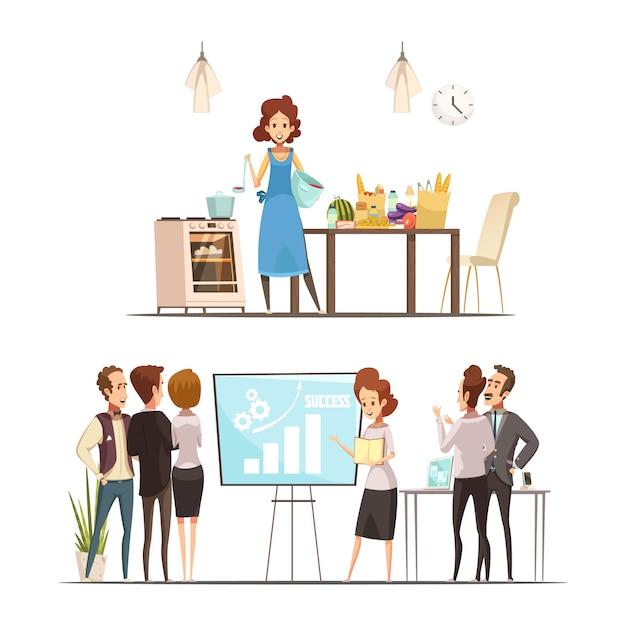 Retro- karikaturarbeitsfamilien-balancenkonzept der mutterschaft 2 mit nach hause kochen und erfolgreiche geschäftsdarstellung lokalisierte vektorillustration Kostenlosen Vektoren