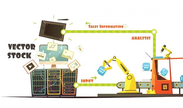 Retro- karikaturart des microstock-geschäftsinhaberarbeitskonzeptschemas Kostenlosen Vektoren