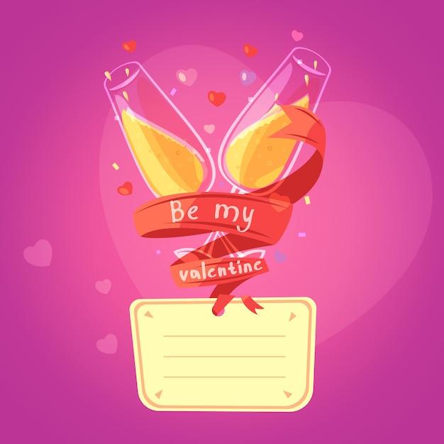 Retro- karikaturkarte des valentinstags mit gläsern auf champagner und herzen auf hintergrund Kostenlosen Vektoren