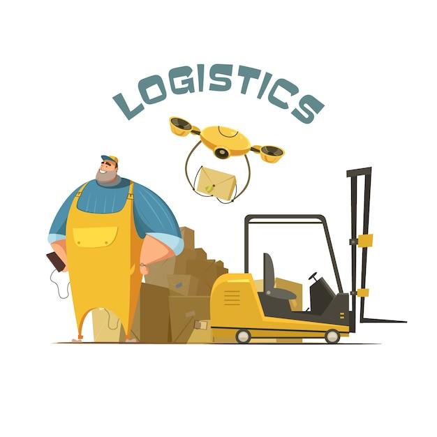 Retro- karikaturkonzept der logistik mit arbeitskraftlader und kästen vector illustration Kostenlosen Vektoren