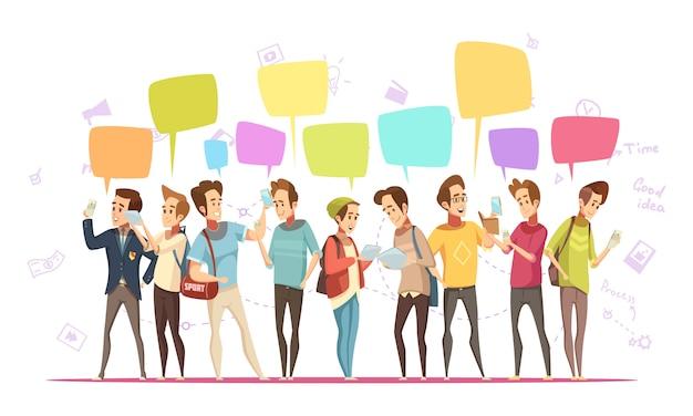 Retro- karikaturplakat der jugendlichjungencharakterkommunikation on-line mit musiksymbolen und chatmitteilungen sprudelt vektorillustration Kostenlosen Vektoren