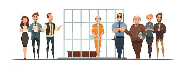Retro- karikaturplakat des gesetzes und der gerechtigkeit mit satzmitteilung und verurteilung hinter gittern Kostenlosen Vektoren