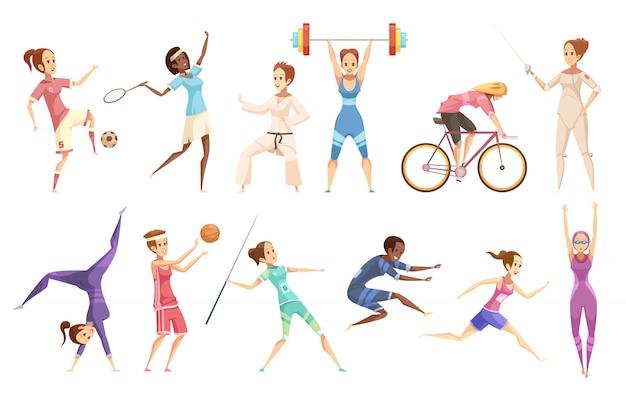 Retro- karikatursatz der sportlerin lokalisierte weibliche figuren, die verschiedene arten des sports auf freiem raum tun Kostenlosen Vektoren