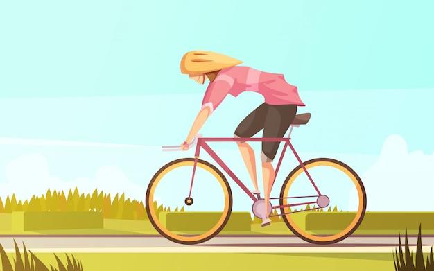 Retro- karikaturzusammensetzung der sportlerin mit flacher weiblicher figur Kostenlosen Vektoren