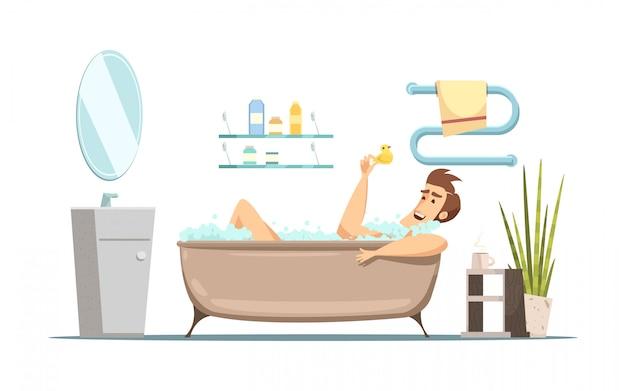 Retro- karikaturzusammensetzung im hygienethema mit dem mann, der bad im badezimmer nimmt Kostenlosen Vektoren