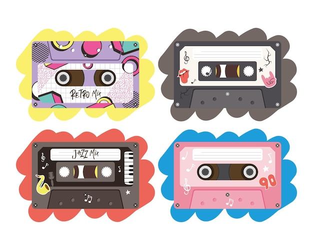 Retro kassetten ikonensammlung design, musik vintage band und audio thema vektor-illustration Premium Vektoren
