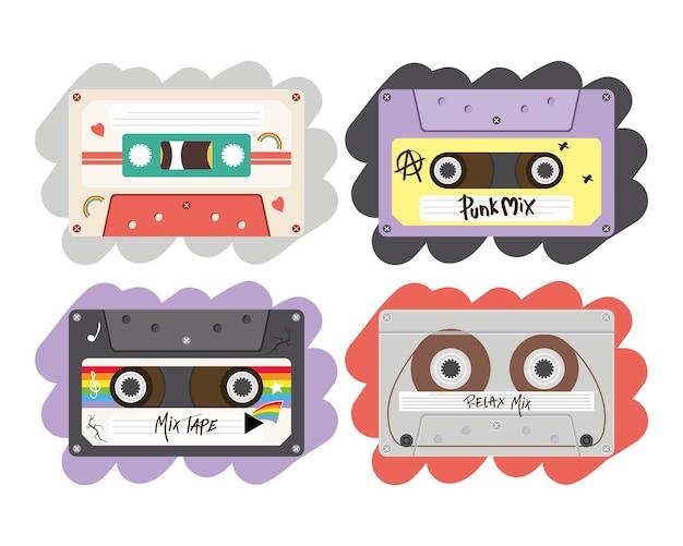 Retro kassetten set design, musik vintage band und audio-thema vektor-illustration Premium Vektoren