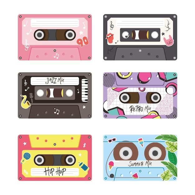 Retro kassetten symbol bündel design, musik vintage band und audio thema vektor-illustration Premium Vektoren