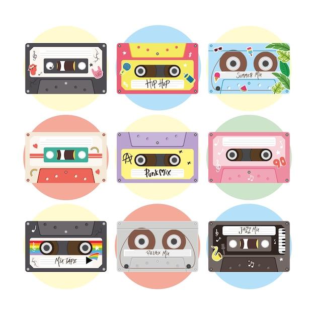 Retro kassetten symbol set design, musik vintage band und audio-thema vektor-illustration Premium Vektoren