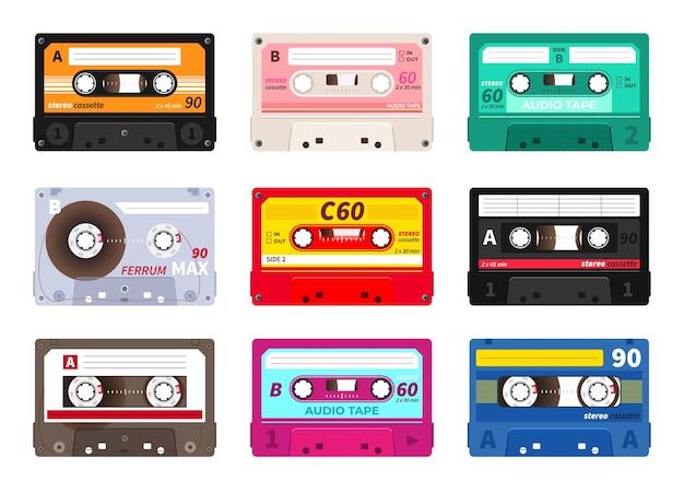Retro-kassetten. vintage musikband, stereo-rekord. Premium Vektoren