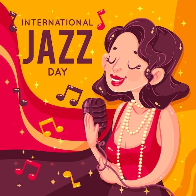 Retro klassisch gekleidete frau, die jazz singt Kostenlosen Vektoren