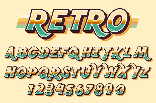 Retro- konzept des alphabetes 3d Kostenlosen Vektoren