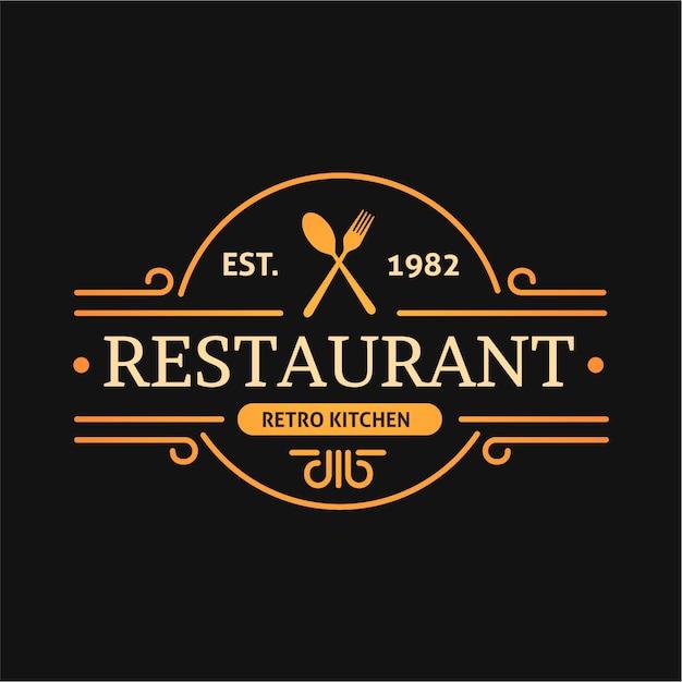 Retro küche design restaurant logo Kostenlosen Vektoren