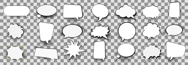 Retro leere comic-blasen und elemente mit schwarzen halbtonschatten auf transparentem hintergrund. illustration, vintage-design, pop-art-stil. Premium Vektoren