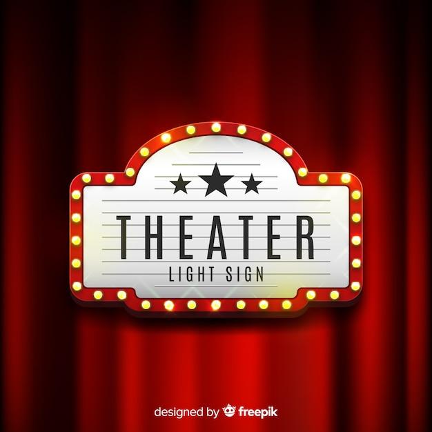 Retro licht theater zeichen Kostenlosen Vektoren