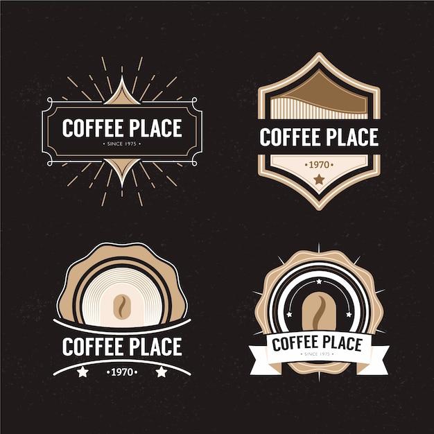 Retro logo der kaffeestube eingestellt Kostenlosen Vektoren