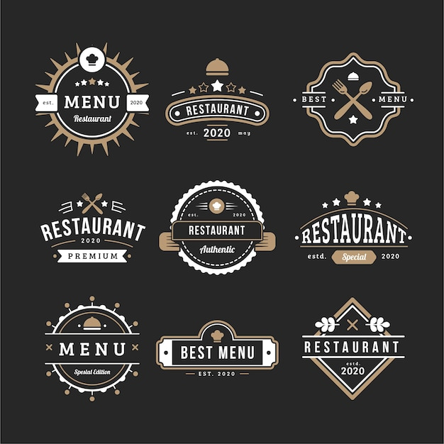 Retro logo-sammlungsmenü der kaffeestube Kostenlosen Vektoren