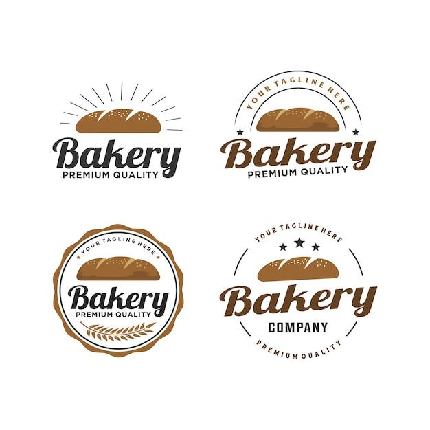 Retro logoentwurf des bäckerei- / brotabzeichens Premium Vektoren
