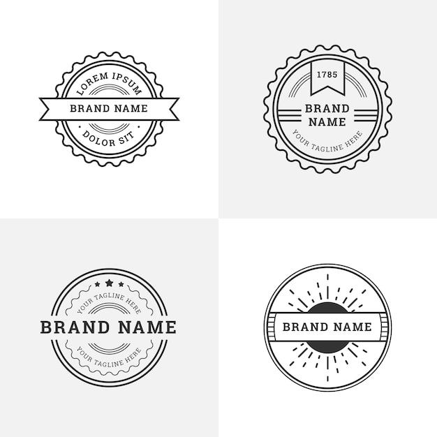 Retro-logos mit runden formen Kostenlosen Vektoren