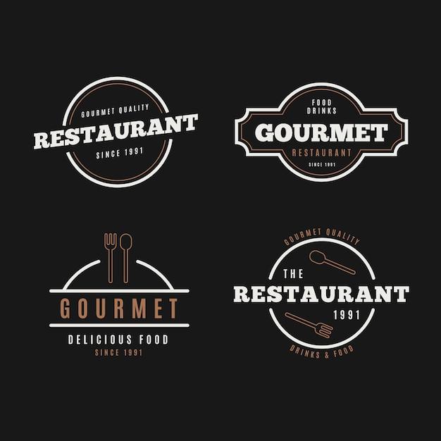 Retro- logosammlung des restaurants auf schwarzem hintergrund Kostenlosen Vektoren