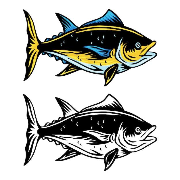 Retro- lokalisierte illustration der weinlesethunfische auf einem weißen hintergrund. Premium Vektoren