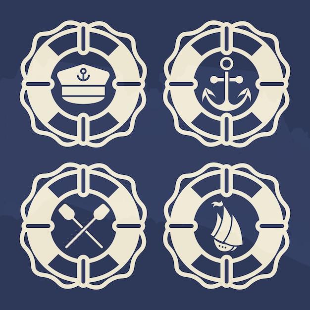 Retro- marinekennsatzfamilie - rettungsring mit anker, boot, paddelkreuz, capitanskappe Premium Vektoren