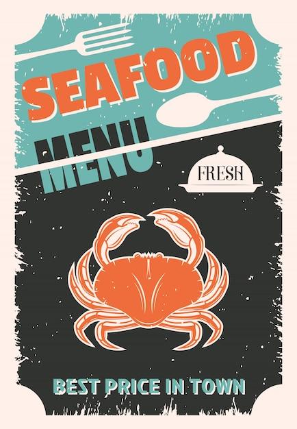 Retro-menü der meeresfrüchte mit roter krabbe auf schwarz getragenem besteck und platte Kostenlosen Vektoren