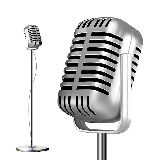 Retro metall mikrofon mit ständer Premium Vektoren