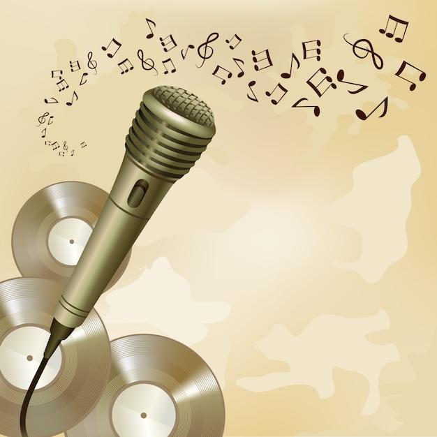 Retro mikrofon auf musikhintergrund Kostenlosen Vektoren