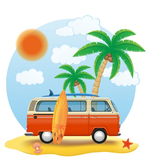 Retro- minivan mit einem surfbrett auf der strandvektorillustration Premium Vektoren