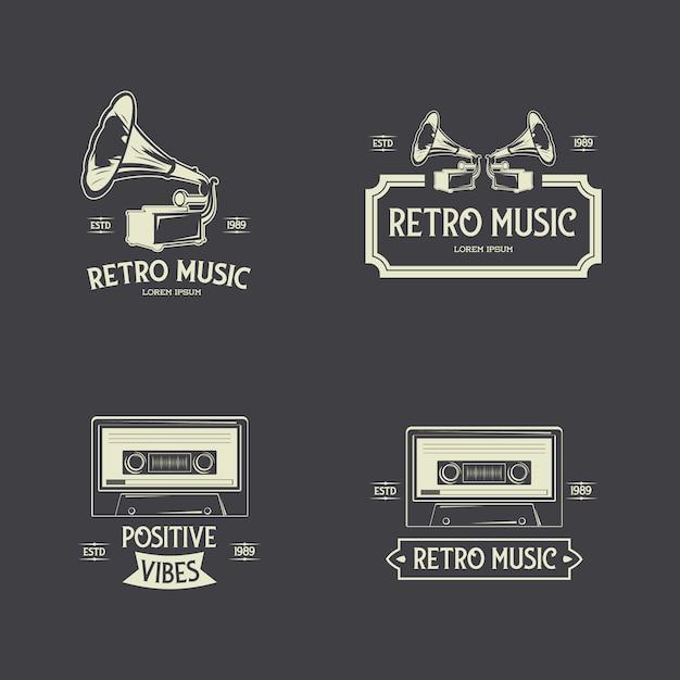 Retro music badges label-sammlung Premium Vektoren