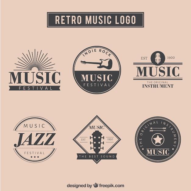 Retro musik-logo-set Kostenlosen Vektoren