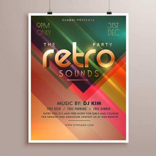 Retro-Musik-Party-Ereignis-Flyer Einladungsschablone   Download der ...