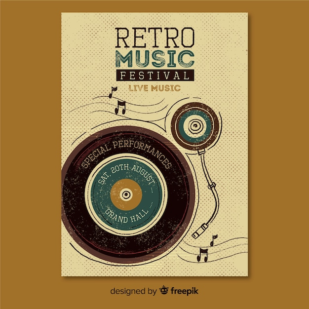 Retro musik plakat vorlage Kostenlosen Vektoren
