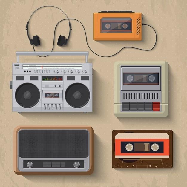 Retro musik-player icons vektor-illustration Kostenlosen Vektoren
