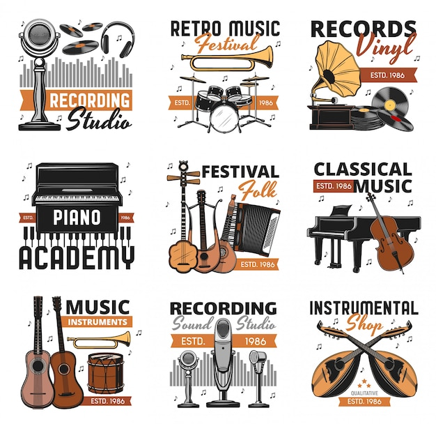 Retro musikinstrumente, schallplatten shop ikonen Premium Vektoren