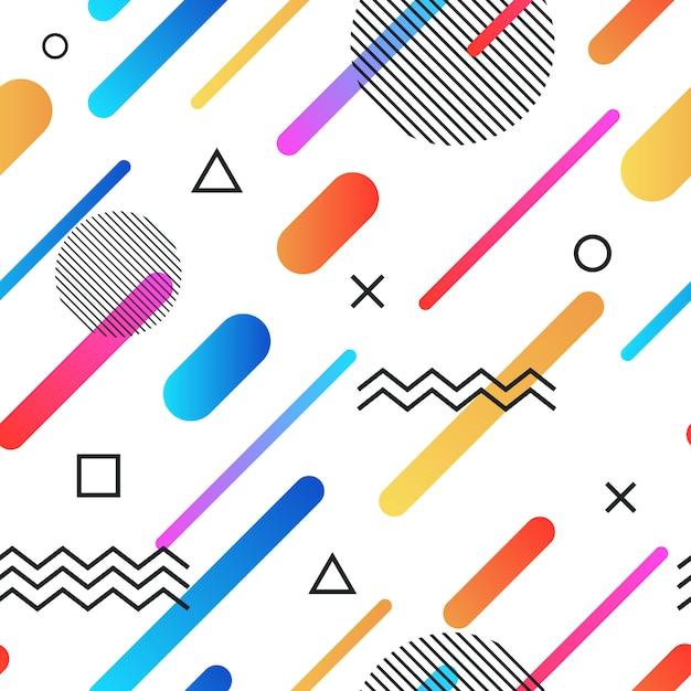 Retro- nahtloser hintergrund der abstrakten memphis-art mit mehrfarbigen einfachen geometrischen formen Premium Vektoren