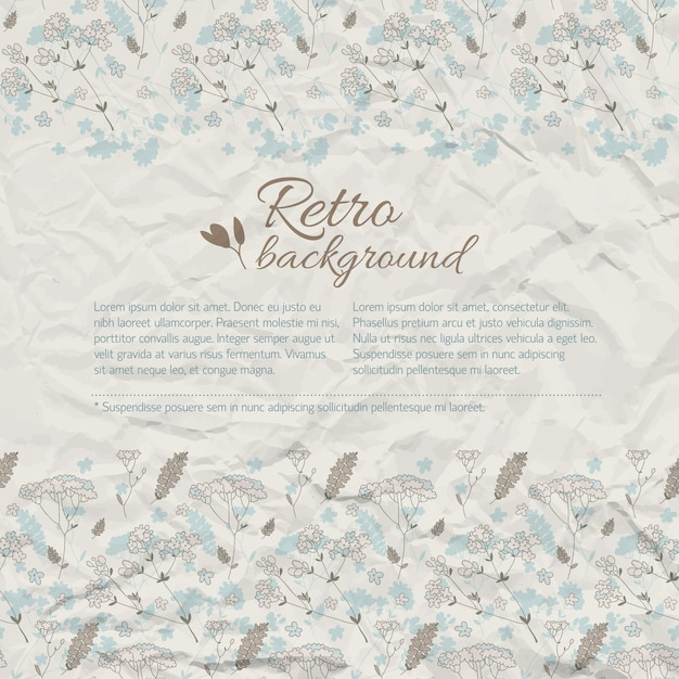 Retro natürlicher hintergrund mit textwiesenblumen auf strukturiertem zerknittertem papier Kostenlosen Vektoren