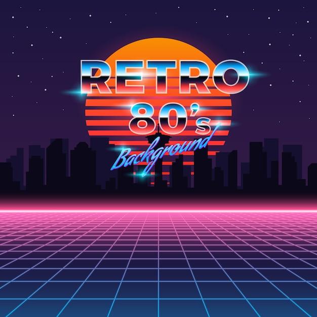 Retro neonhintergrund im stil der 80er jahre Kostenlosen Vektoren