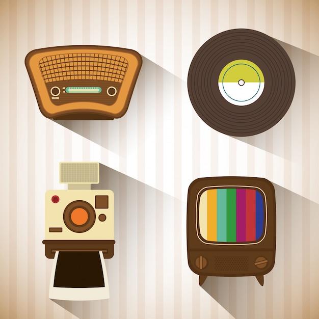 Retro objekte vintage-design Premium Vektoren