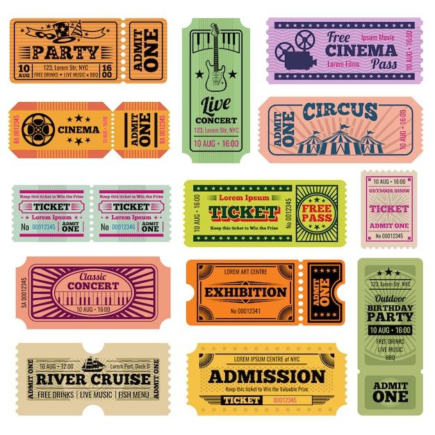 Retro- partei-, kino-, film- und musikereignisvektor, der die karten eingestellt führt Premium Vektoren