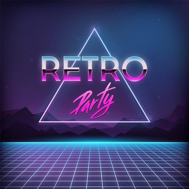Retro party hintergrund der 1980er jahre Premium Vektoren