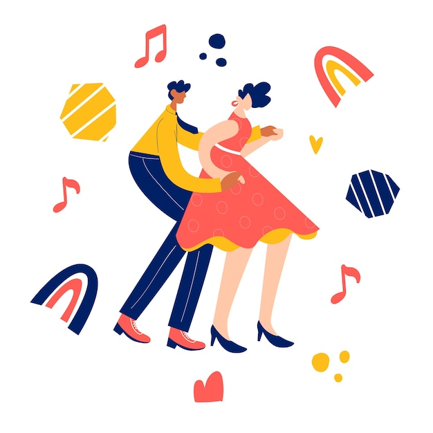 Retro party tanzkonzept. schwarzes junges paar tanzt schaukel, lindy hop, rock'n'roll. Premium Vektoren