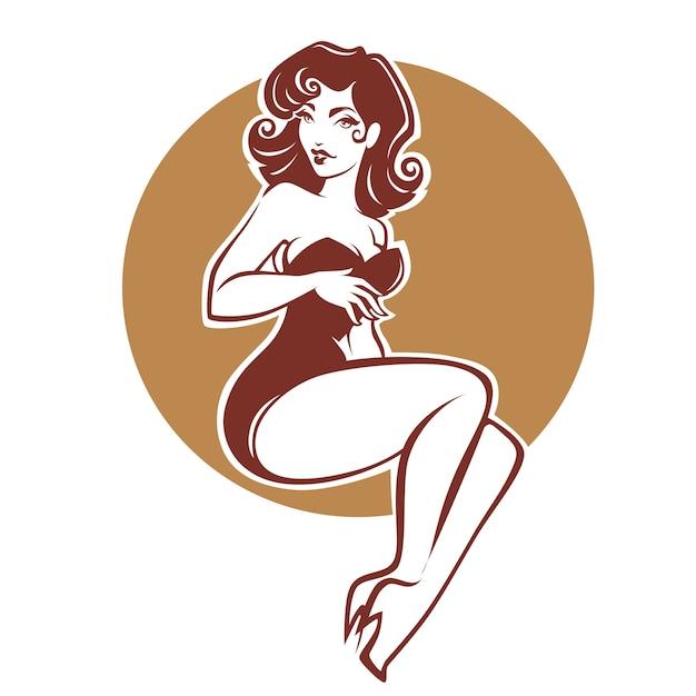 Retro pinupmädchen der sexy und schönheit für ihr logo oder aufkleberdesign Premium Vektoren