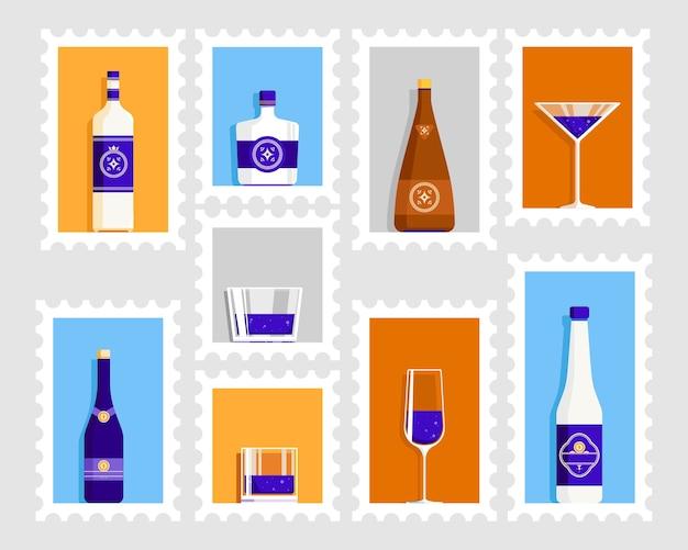 Retro-plakat des bierglases und der flasche Premium Vektoren